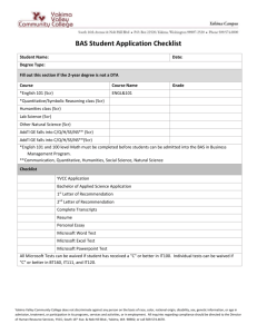 Application Checklist - Yakima Valley Community College