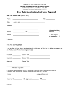 Peer Tutor Application/Instructor Approval