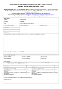 Exome Sequencing Request Form - Exeter Clinical Laboratory