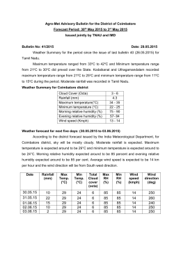 Agro-Met Advisory Bulletin for the District of Coimbatore
