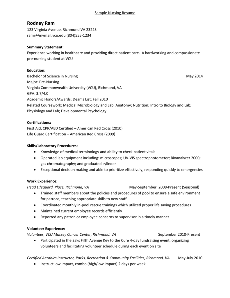 Sample Nursing Resume With Comments 010511