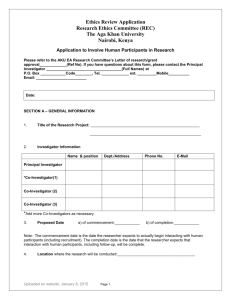 Application Form for Human Participants