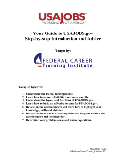 Today`s Objectives - Job Connection Education Program