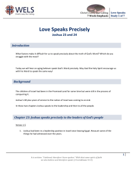 Bible Study 1 Handout - Love Speaks Precisely
