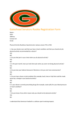 Registration Form - Gateshead Senators