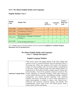 BA English Studies and Languages Year 2 Handbook for Incoming