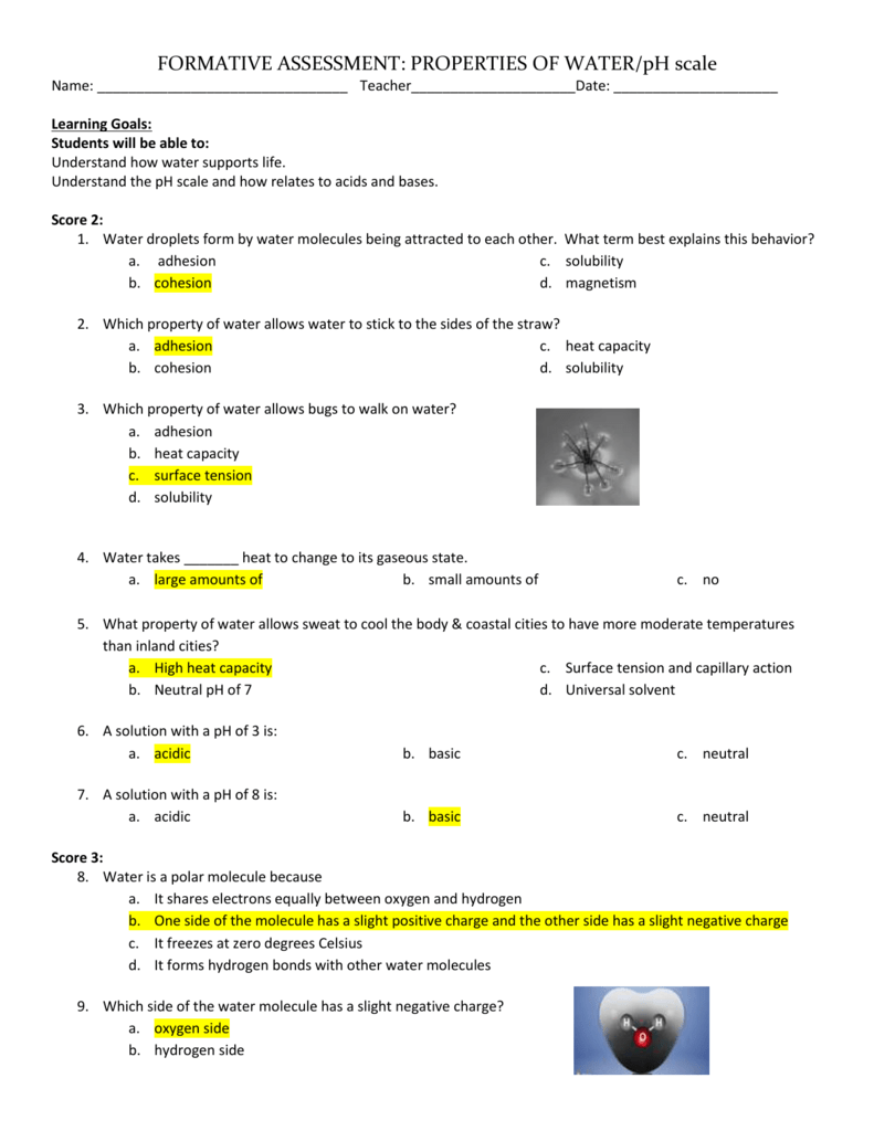 Practice Quiz on Water: Answer Key