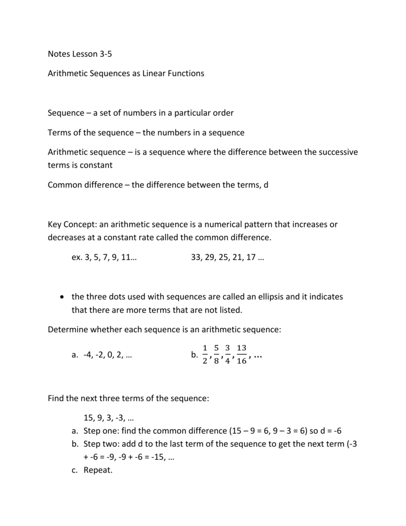 Arithmetic Sequences as Functions