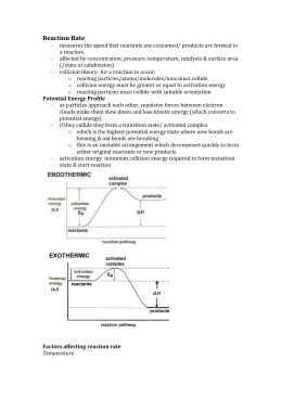 Potential Energy Diagram Worksheet ANSWERS