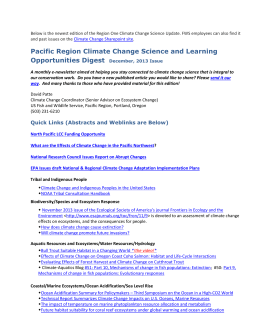 Pacific Region Climate Change Science and Learning Opportunities