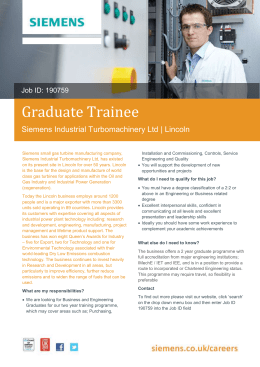 Graduate Trainee Siemens Industrial Turbomachinery Ltd | Lincoln
