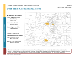 Chemical Reactions - Colorado Department of Education