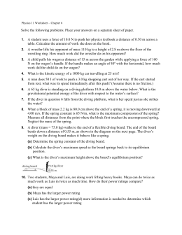 Physics 11 Worksheet Ch 6