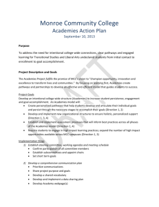 Monroe Community College`s Action Plan from the 2013 Institute on