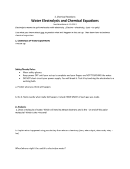 Electrolysis of Water: Semester 1 Prelab (Day 1)
