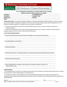 Course Faculty Agreement for a CME Activity