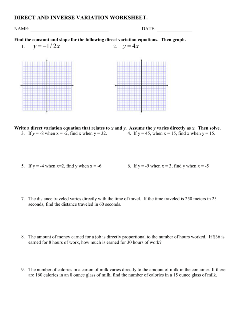Worksheets Inverse Variation Worksheet direct and inverse variation worksheet