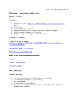 AP Biology – Introduction and Chemistry