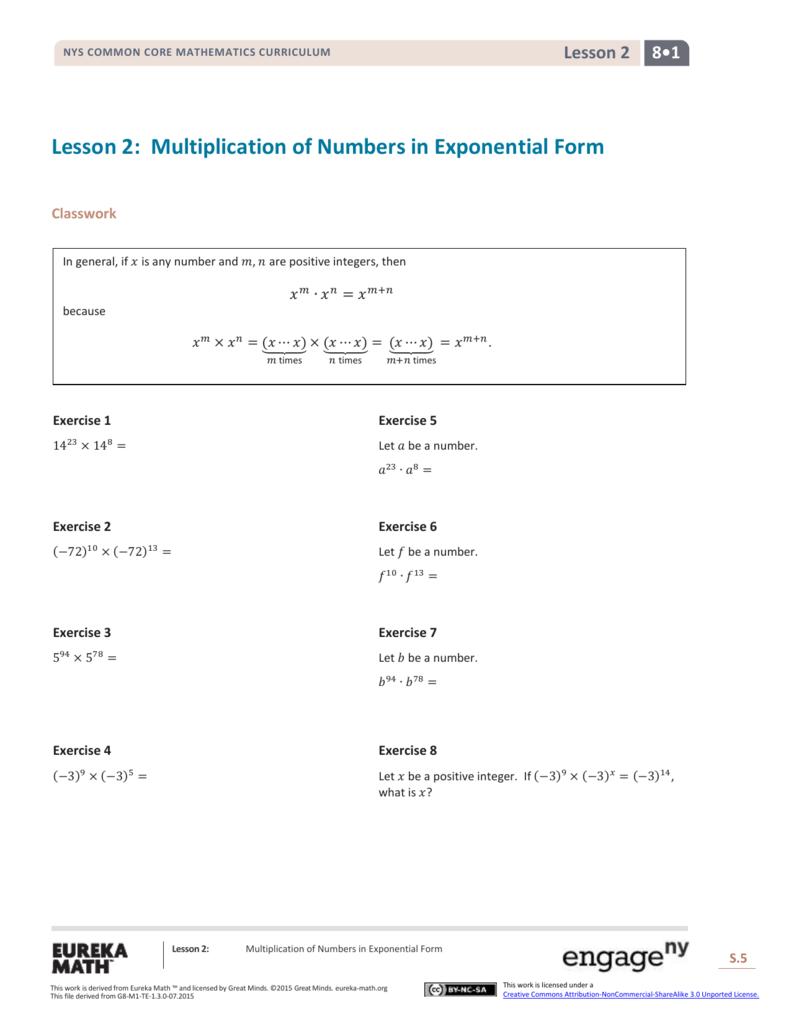 Grade 8 Mathematics Module 1, Topic A, Lesson 2
