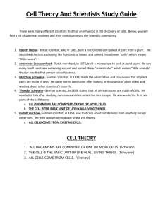 Cell Theory And Scientists Study Guide