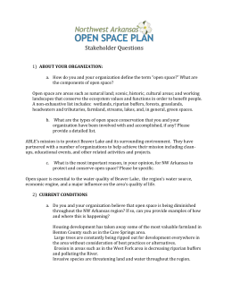Open space Stakeholder Questions - Association for Beaver Lake