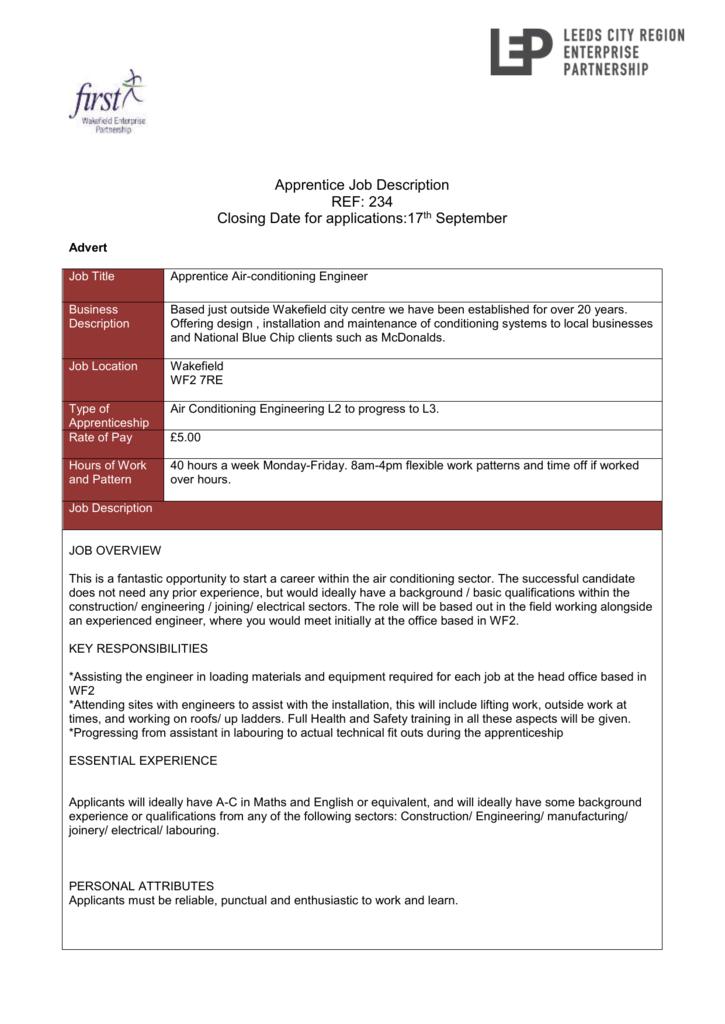 Apprentice Job Description REF: 234 Closing Date for applications