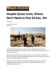 Despite Syrian Crisis, Drivers Don`t Need to Fear $4 Gas...Yet