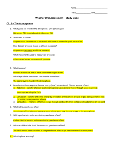 Weather Unit Assessment – Study Guide Ch. 1 – The Atmosphere