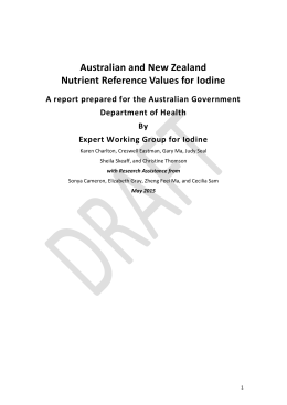 Australia and New Zealand Nutrient Reference Values for Iodine