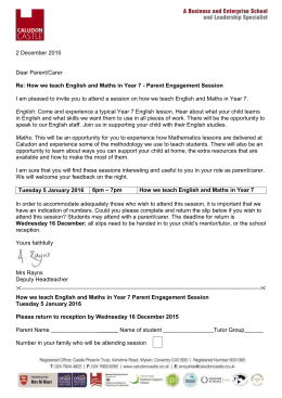 parent engagement session – maths and english in year 7