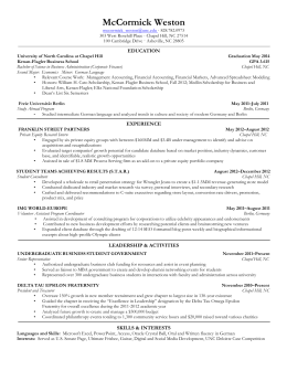 William McCormick Resume