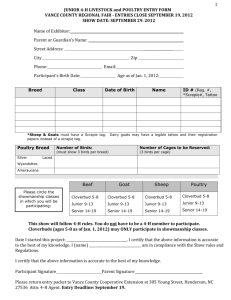 JUNIOR 4-H LIVESTOCK and POULTRY ENTRY FORM VANCE