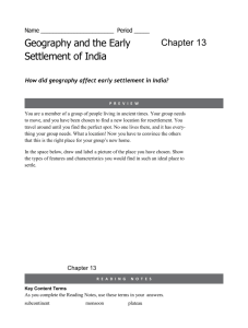 How did geography affect early settlement in India?