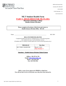 Medical Lab Tech PART I Student Health Form