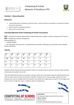 CAS CPD Activity 5 Binary Bracelets