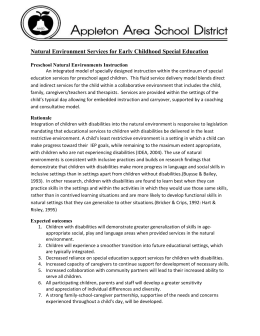 J. Natural Environment Services for Early Childhood Special