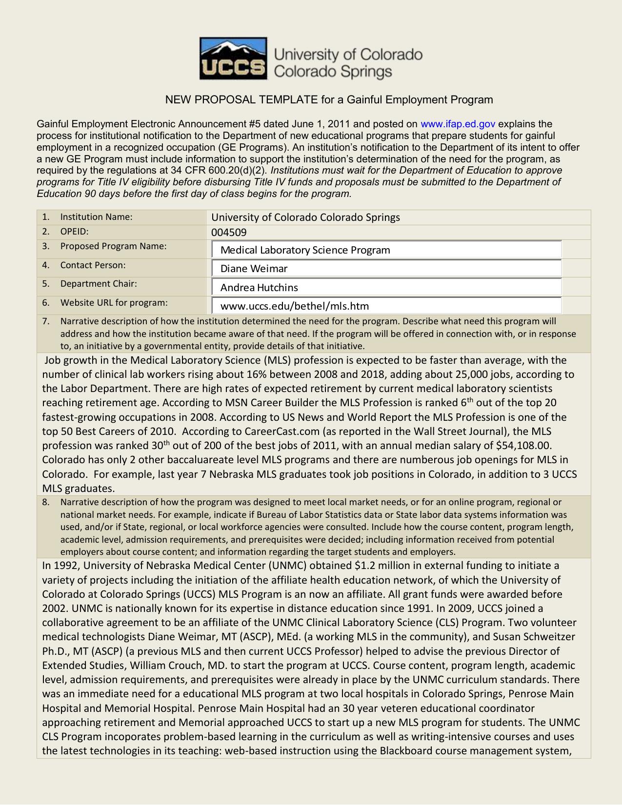 Proposal University Of Colorado Colorado Springs