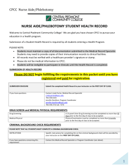 student health record - Central Piedmont Community College
