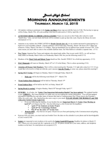 Morning Announcements 3-12-2015