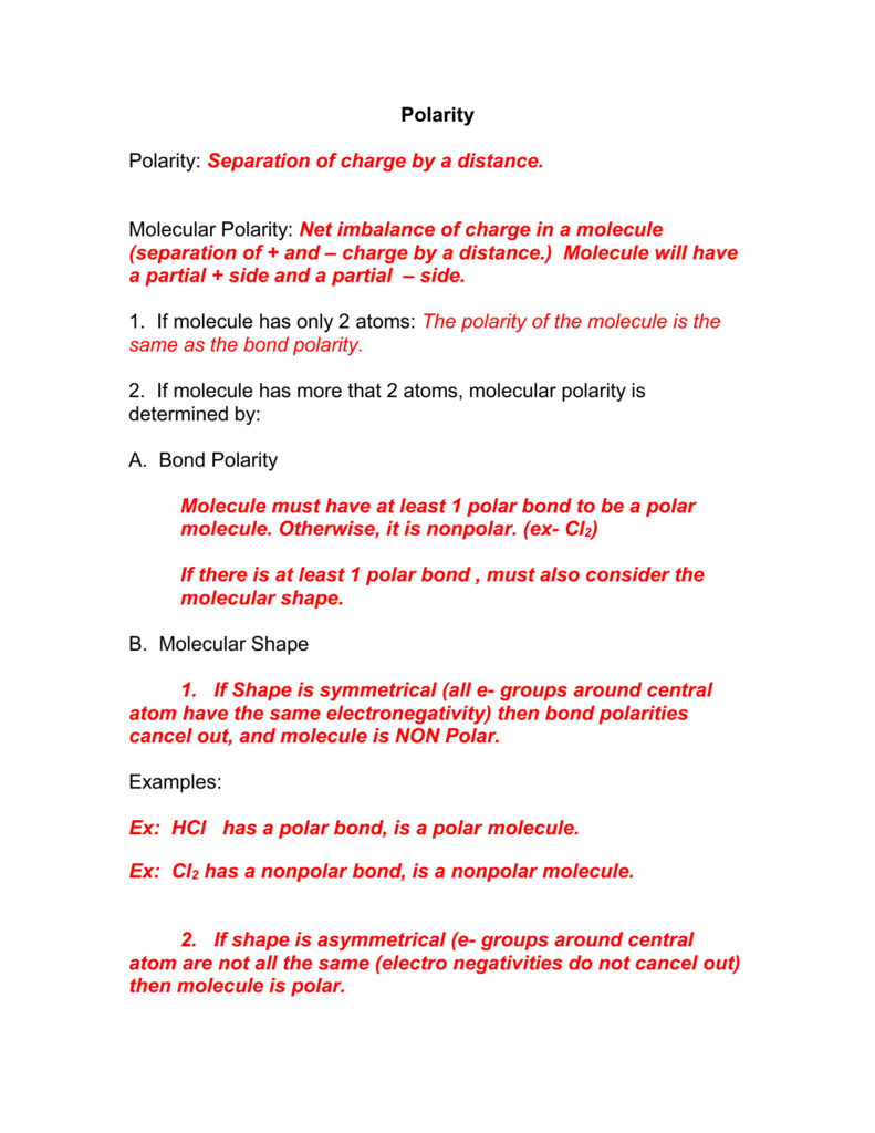 Molecular Polarity Notes