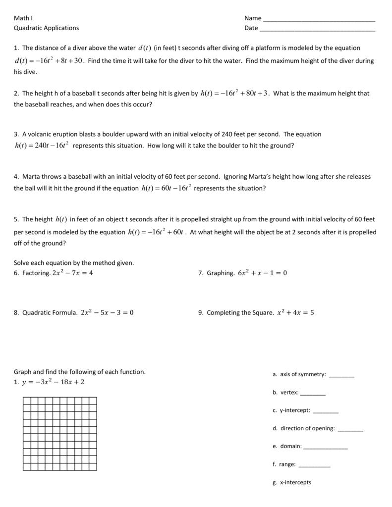 Quadratics Applications Homework Worksheet