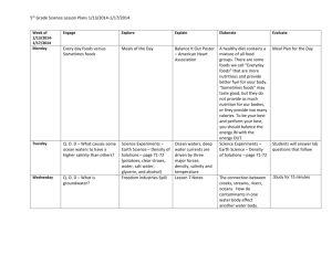 5th Grade Science Lesson Plans 1/13/2014