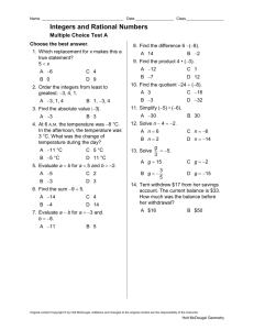 Integers and Rational Numbers Free Response Test B