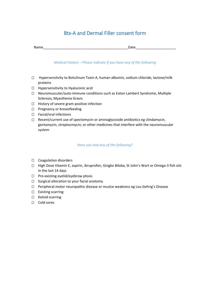 Btx-A and Dermal Filler consent form
