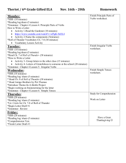 ELA/Reading Plan week 15