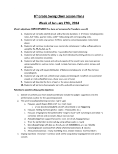 8th Grade Swing Choir Lesson Plans week of 1-27-14