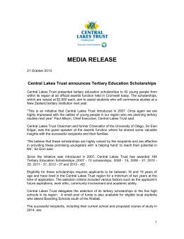 media release - Central Lakes Trust