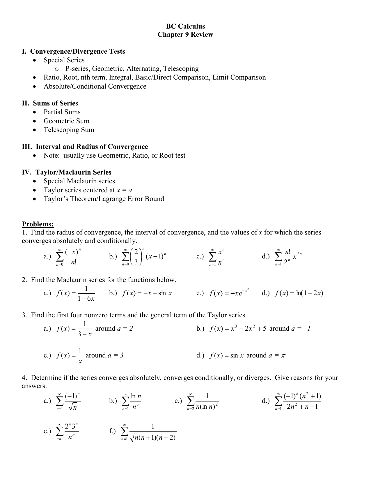 BC Calculus Chapter 9 Review I  Convergence/Divergence Tests