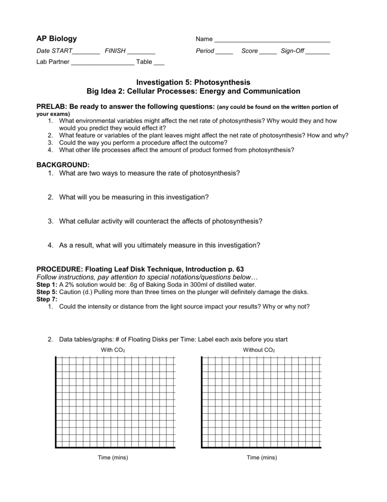 ap biology floating leaf disk photosynthesis lab answers