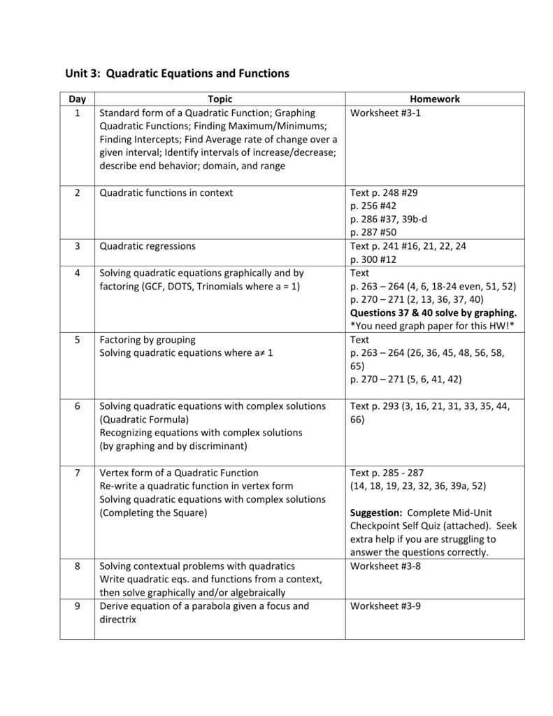 Worksheets Quadratic Regression Worksheet unit 3 calendar